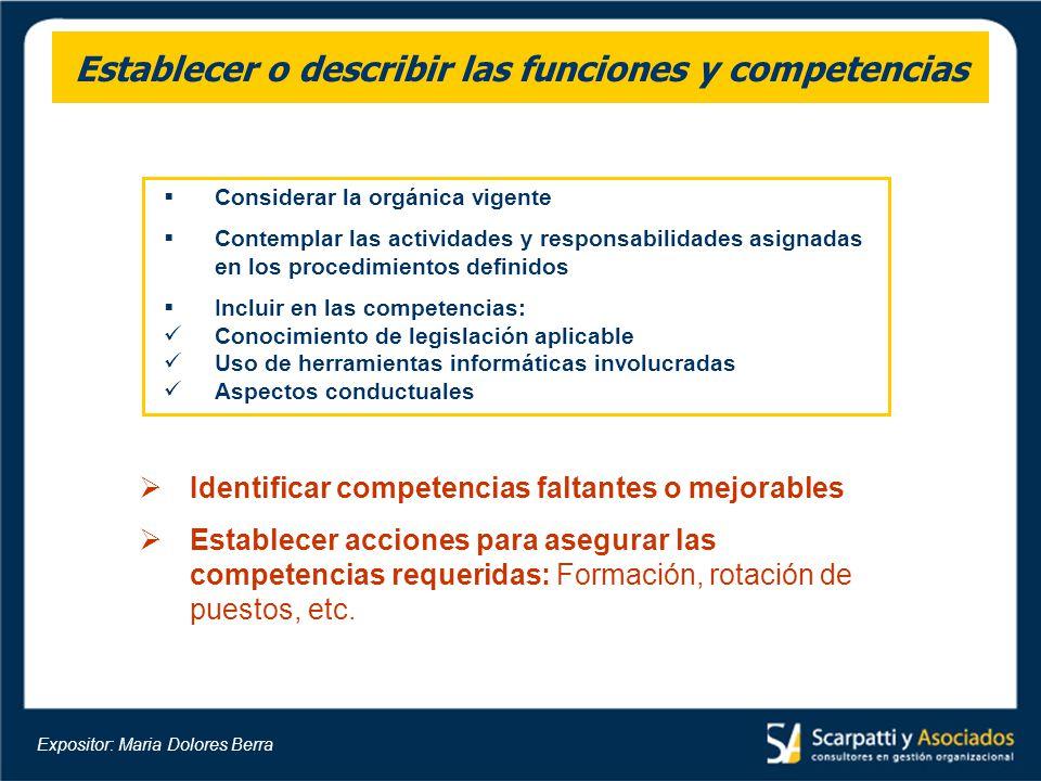 Establecer o describir las funciones y competencias