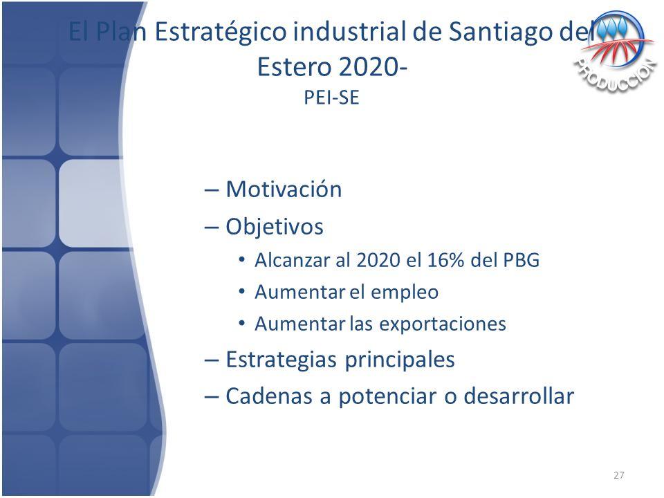 El Plan Estratégico industrial de Santiago del Estero 2020- PEI-SE
