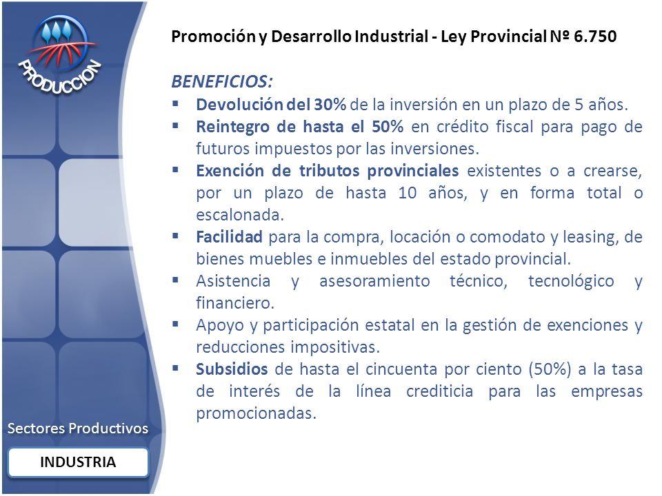 Promoción y Desarrollo Industrial - Ley Provincial Nº 6.750