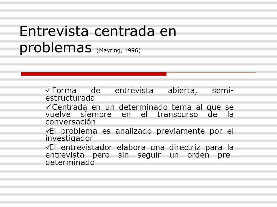 Entrevista centrada en problemas (Mayring, 1996)