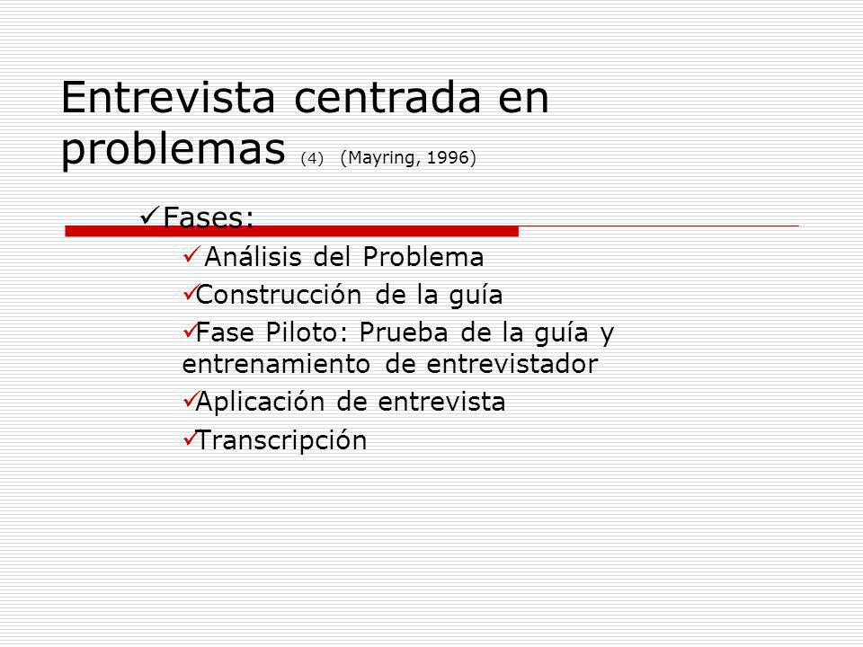 Entrevista centrada en problemas (4) (Mayring, 1996)