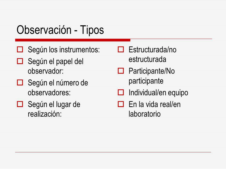 Observación - Tipos Según los instrumentos: