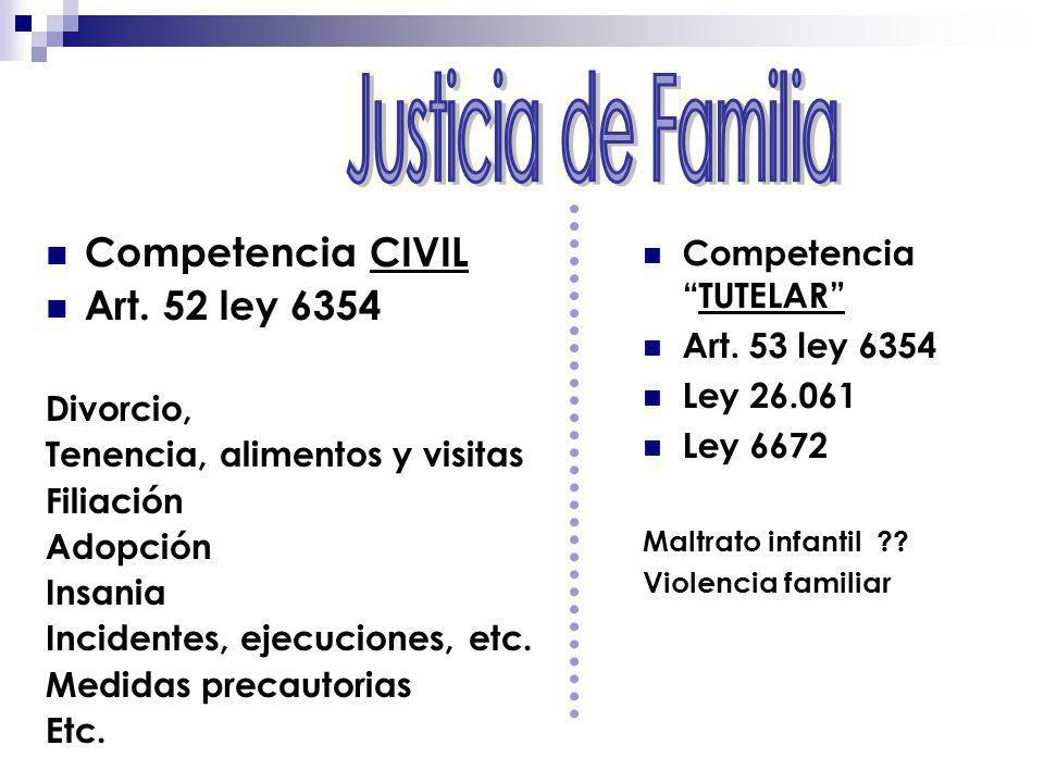Justicia de Familia Competencia CIVIL Art. 52 ley 6354