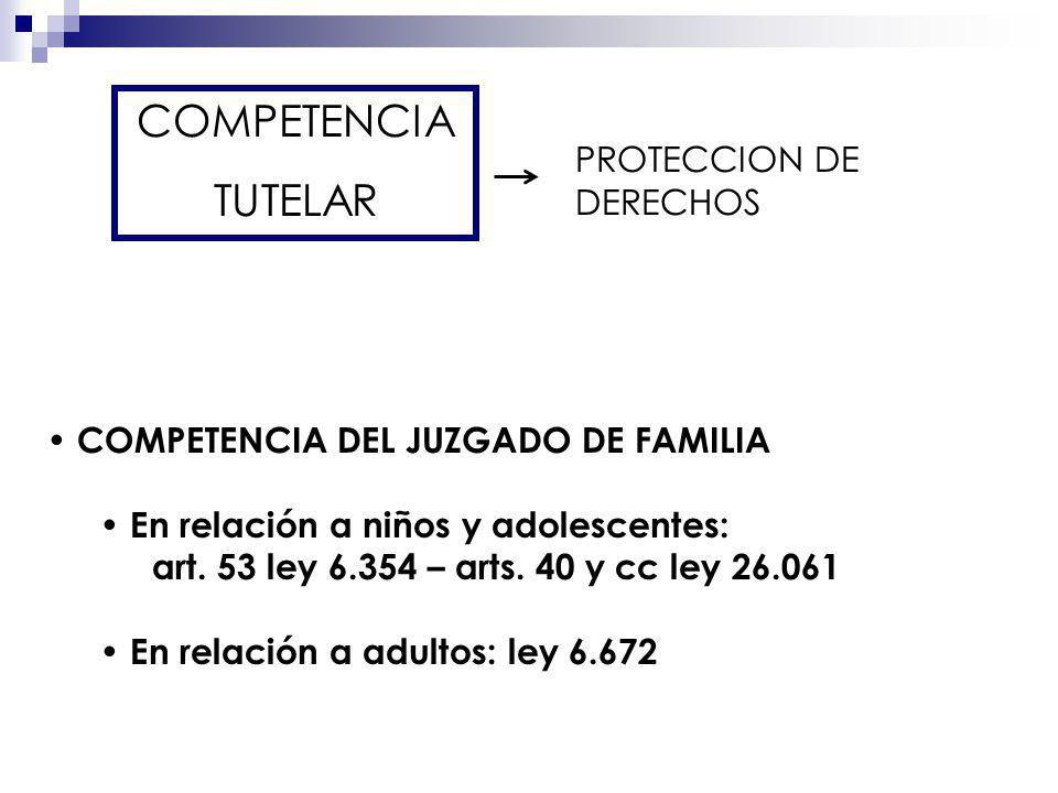 COMPETENCIA TUTELAR PROTECCION DE DERECHOS