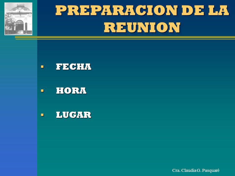 PREPARACION DE LA REUNION