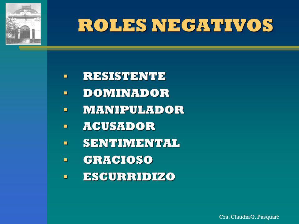 ROLES NEGATIVOS RESISTENTE DOMINADOR MANIPULADOR ACUSADOR SENTIMENTAL