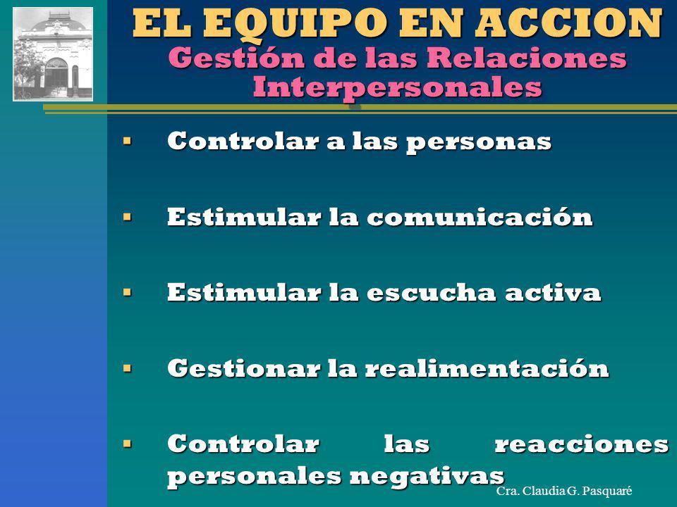 EL EQUIPO EN ACCION Gestión de las Relaciones Interpersonales