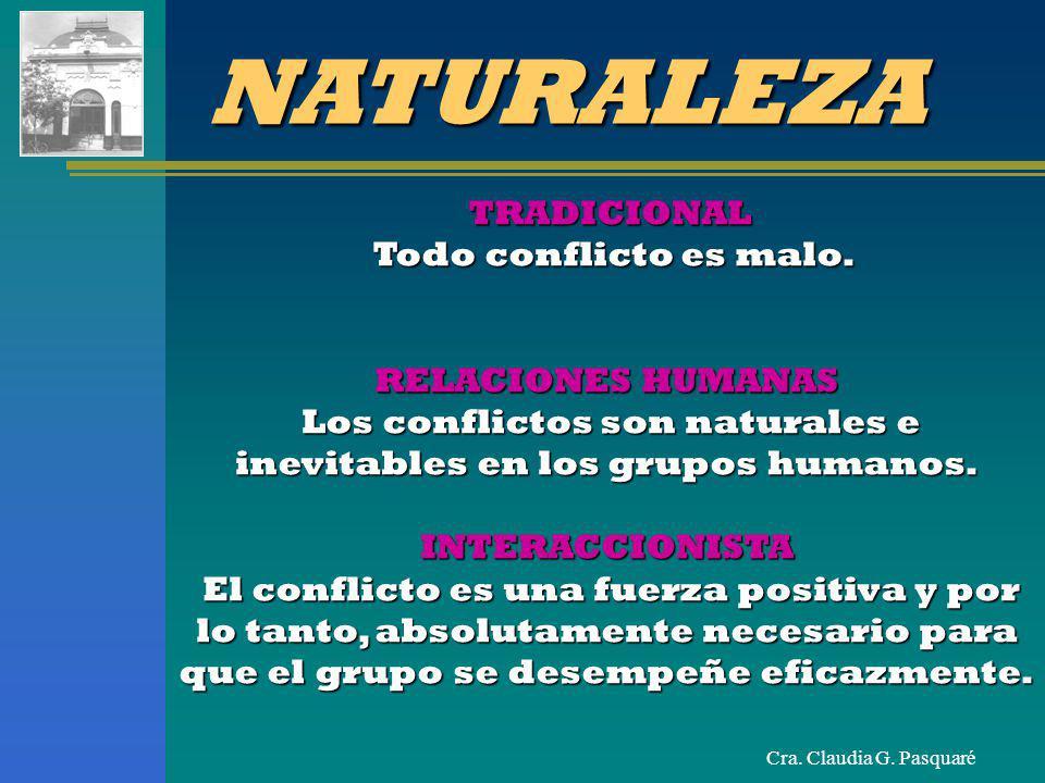 Los conflictos son naturales e inevitables en los grupos humanos.