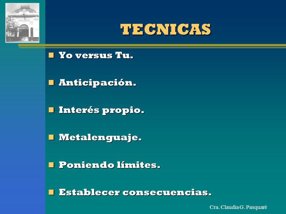 TECNICAS Yo versus Tu. Anticipación. Interés propio. Metalenguaje.