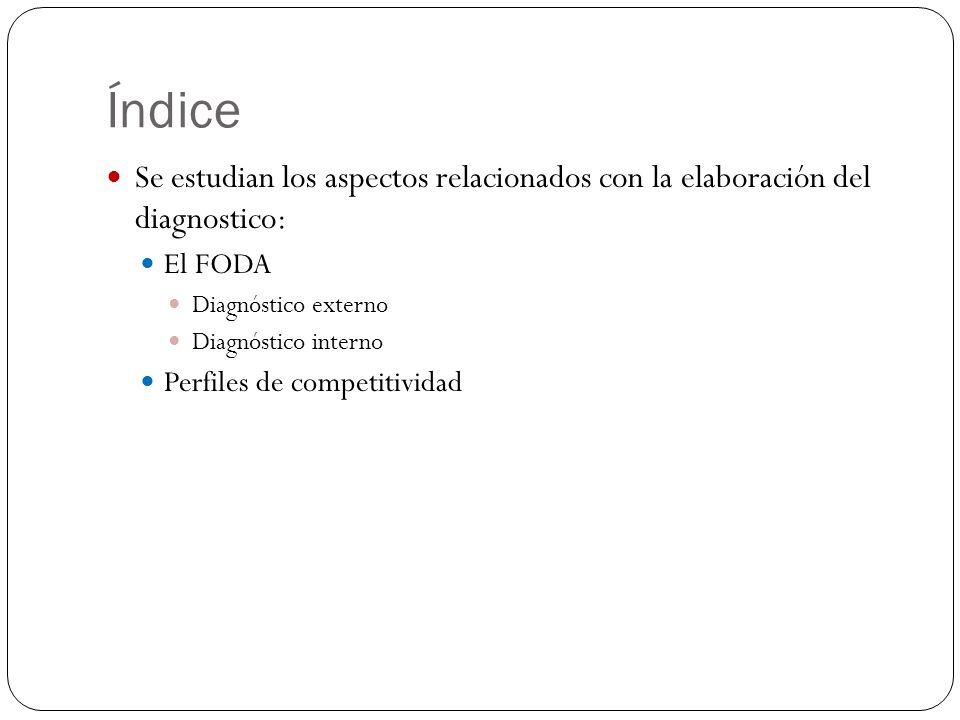 Índice Se estudian los aspectos relacionados con la elaboración del diagnostico: El FODA. Diagnóstico externo.