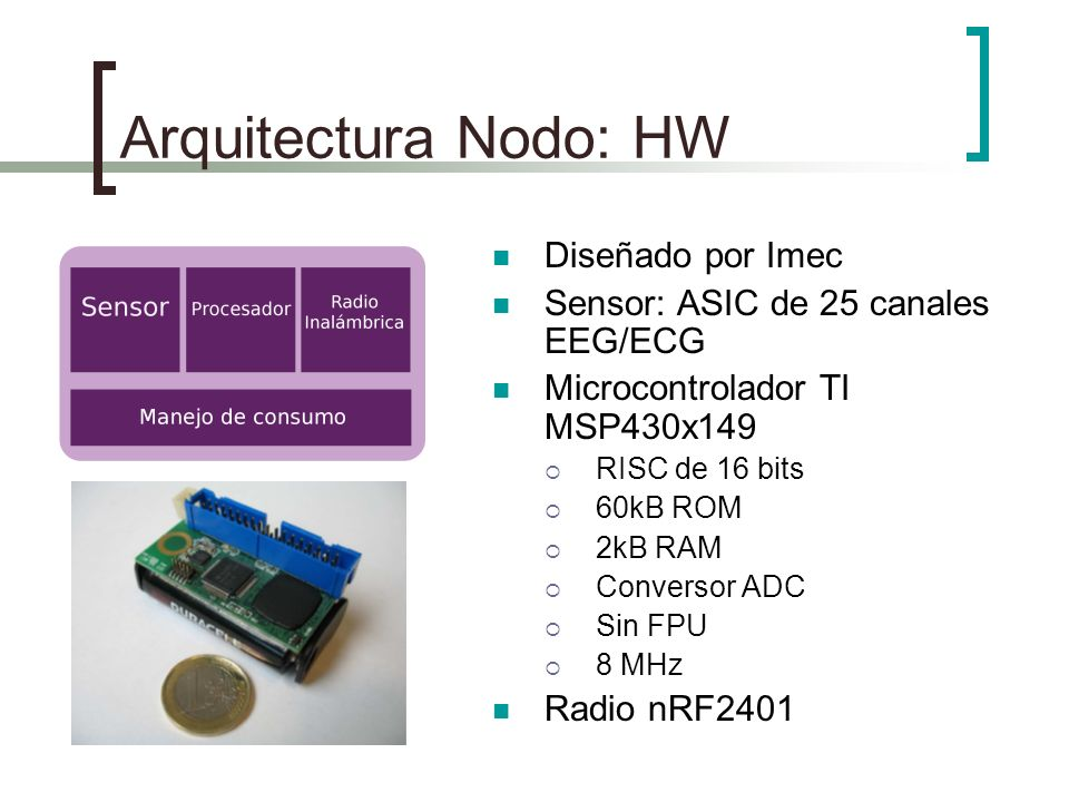 Arquitectura Nodo: HW Diseñado por Imec