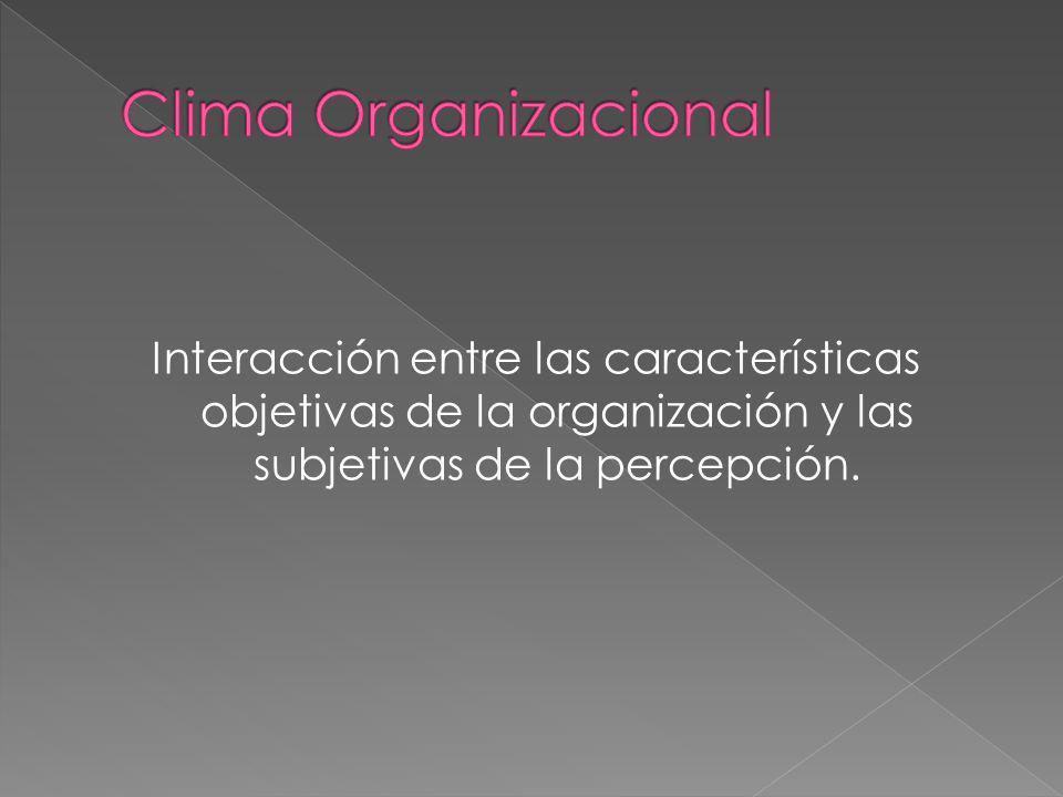 Clima Organizacional Interacción entre las características objetivas de la organización y las subjetivas de la percepción.
