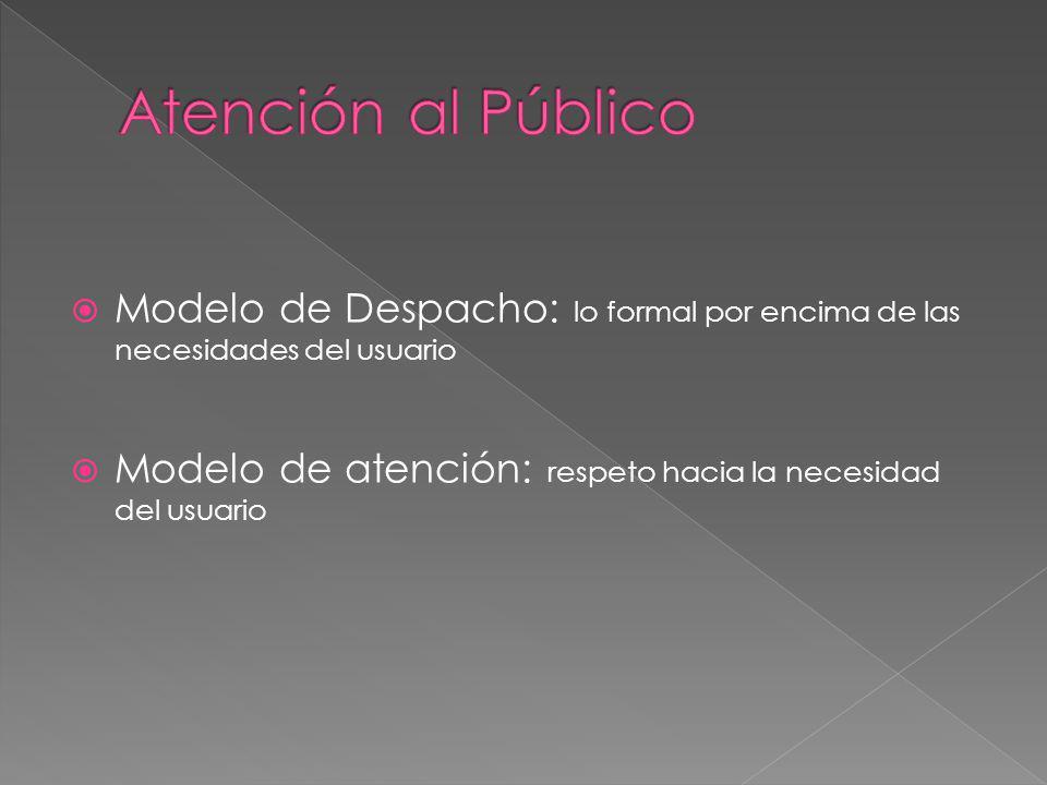 Atención al Público Modelo de Despacho: lo formal por encima de las necesidades del usuario.