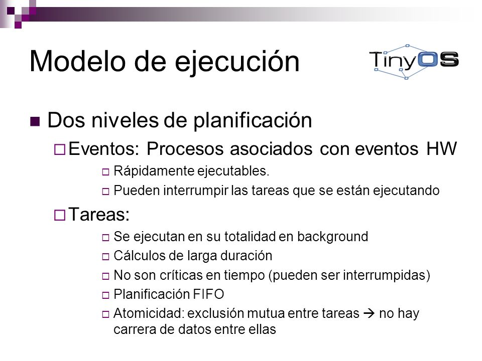 Modelo de ejecución Dos niveles de planificación