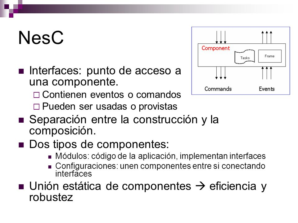 NesC Interfaces: punto de acceso a una componente.