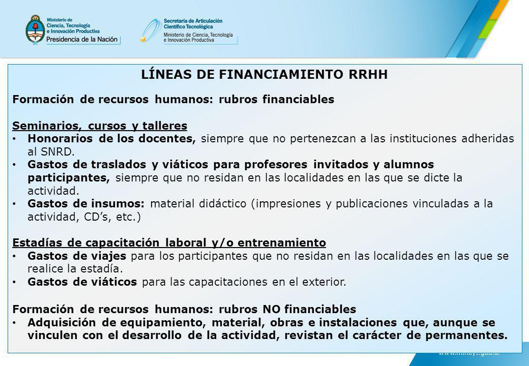 LÍNEAS DE FINANCIAMIENTO RRHH