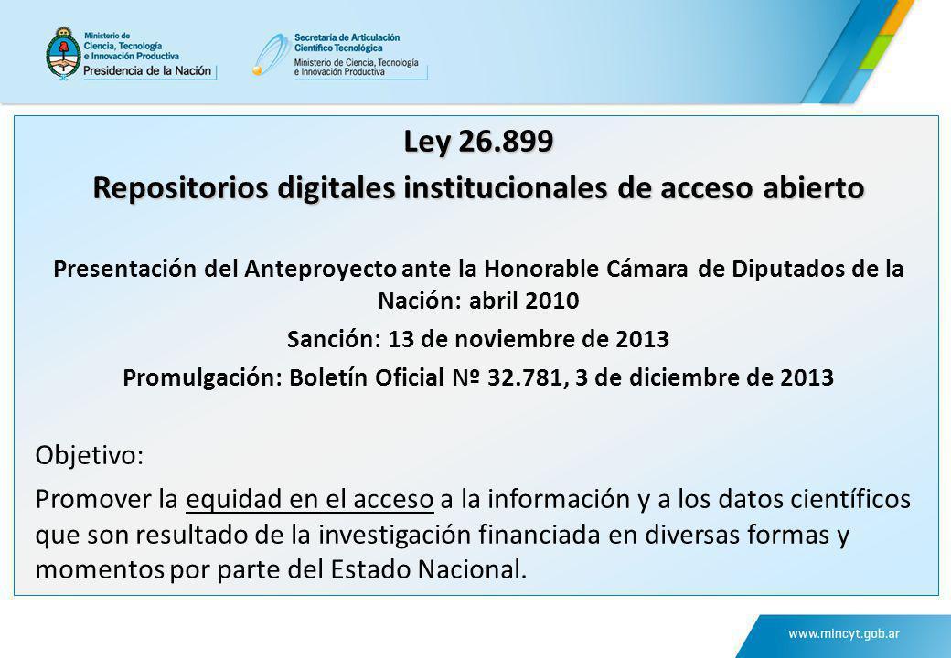Ley 26.899 Repositorios digitales institucionales de acceso abierto