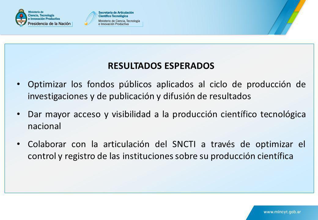 RESULTADOS ESPERADOS Optimizar los fondos públicos aplicados al ciclo de producción de investigaciones y de publicación y difusión de resultados.
