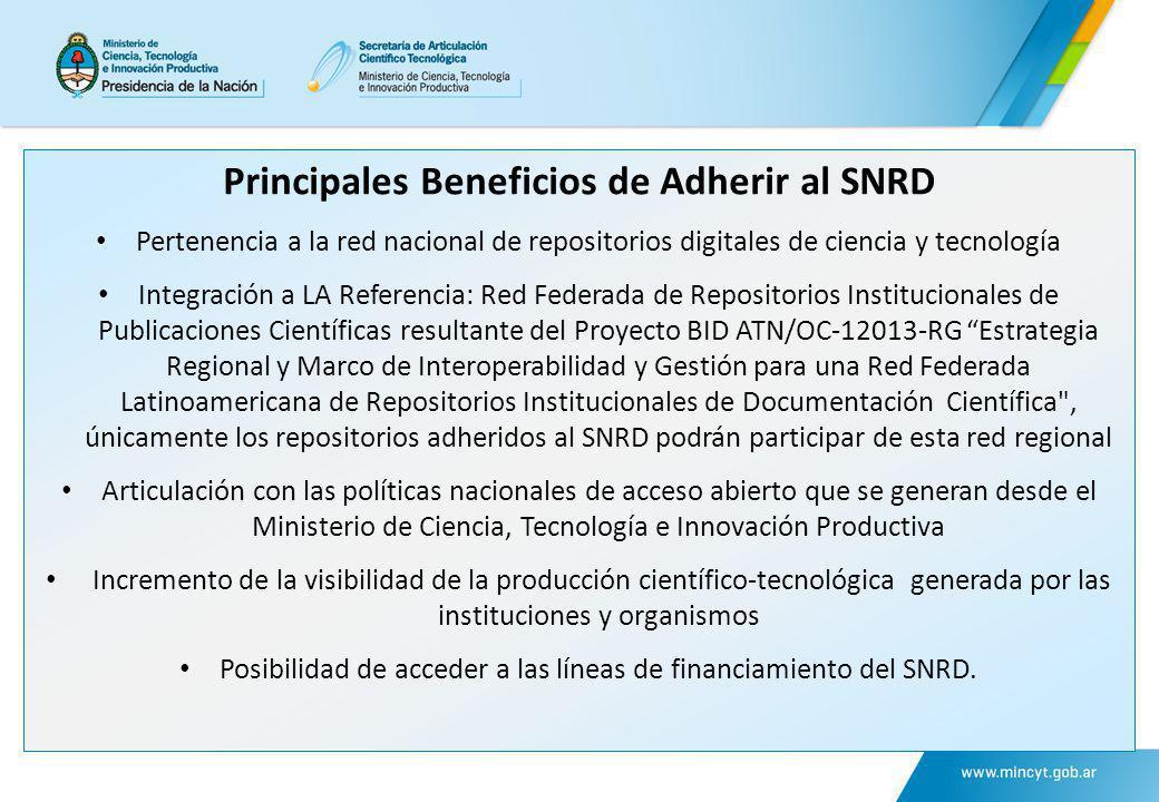 Principales Beneficios de Adherir al SNRD