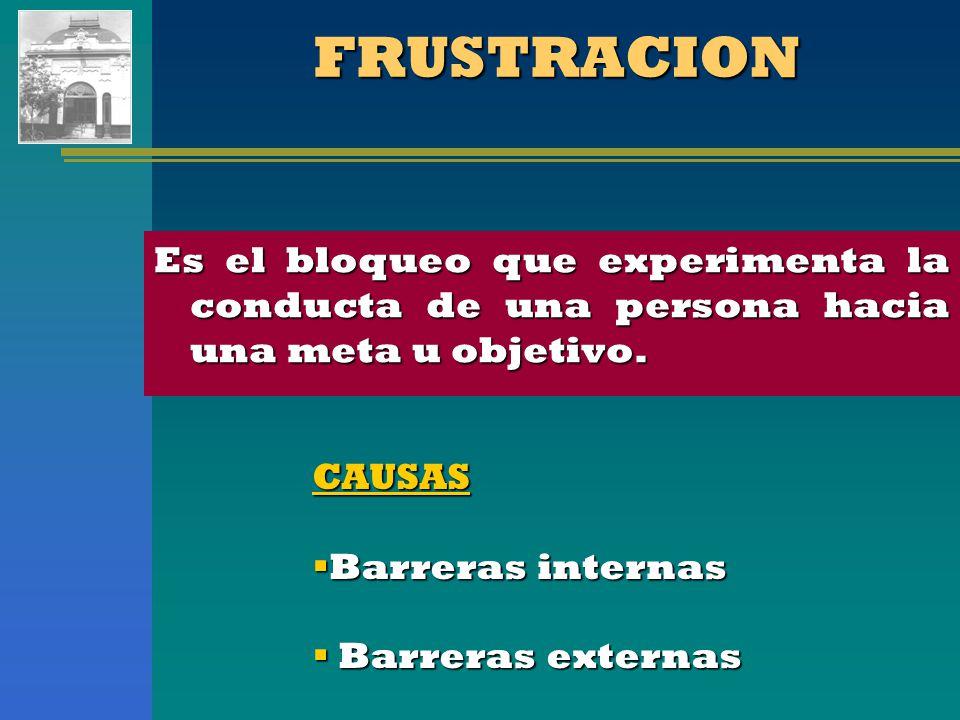 FRUSTRACION Es el bloqueo que experimenta la conducta de una persona hacia una meta u objetivo. CAUSAS.