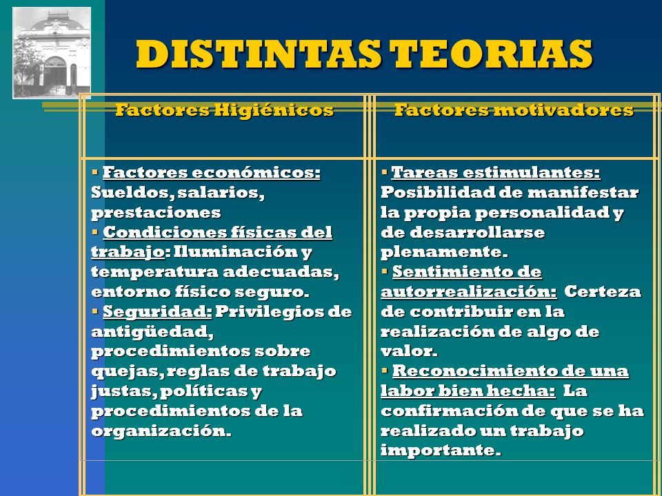 DISTINTAS TEORIAS Factores Higiénicos Factores motivadores