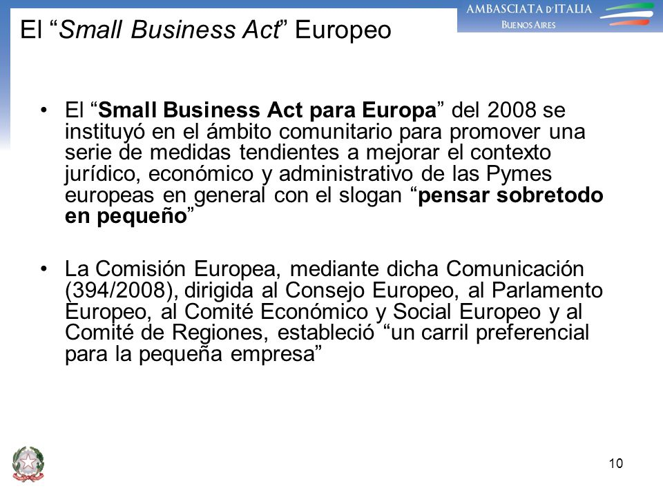 El Small Business Act Europeo