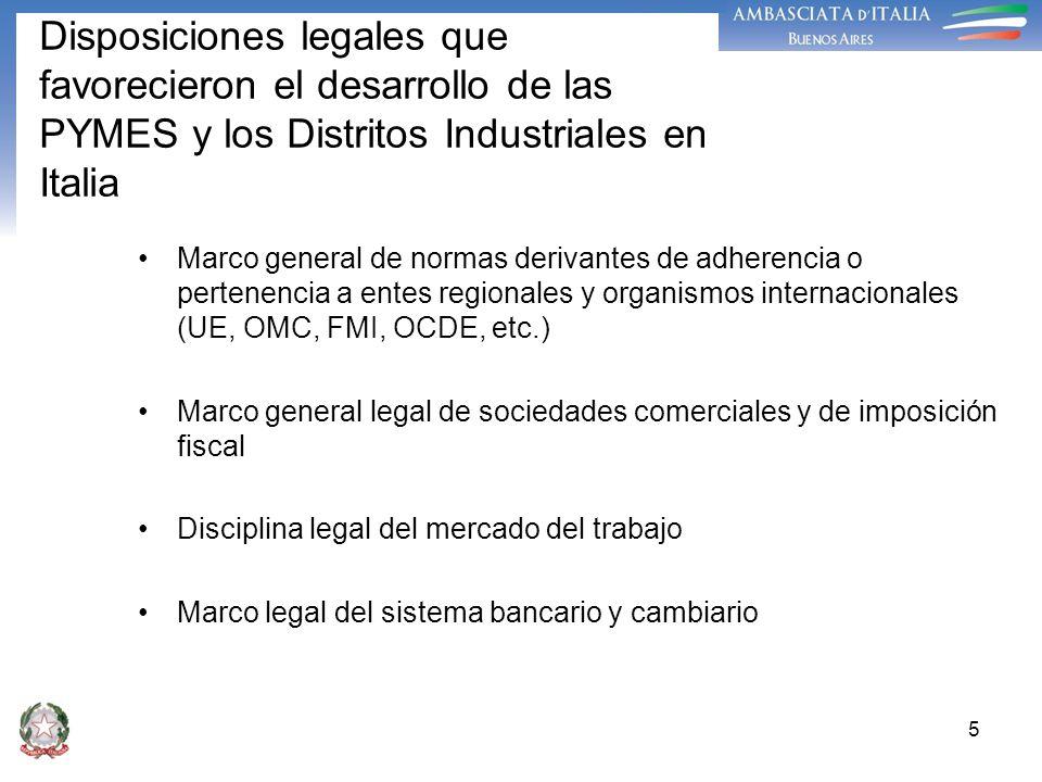 Disposiciones legales que favorecieron el desarrollo de las PYMES y los Distritos Industriales en Italia