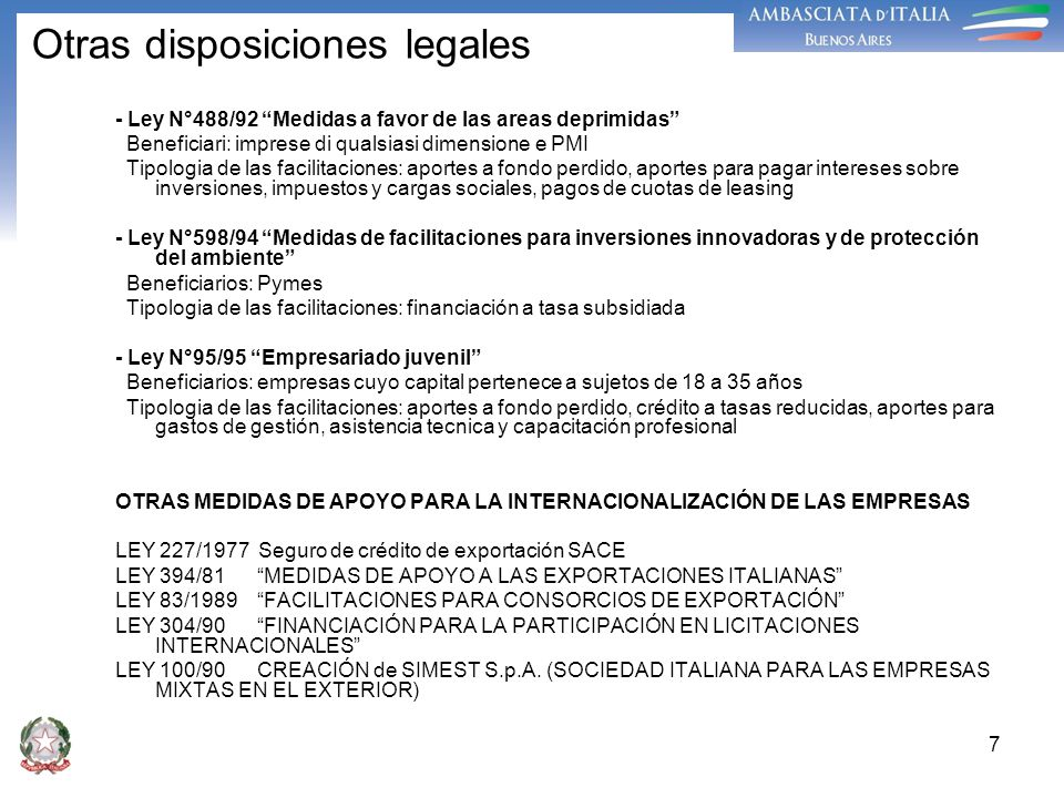 Otras disposiciones legales