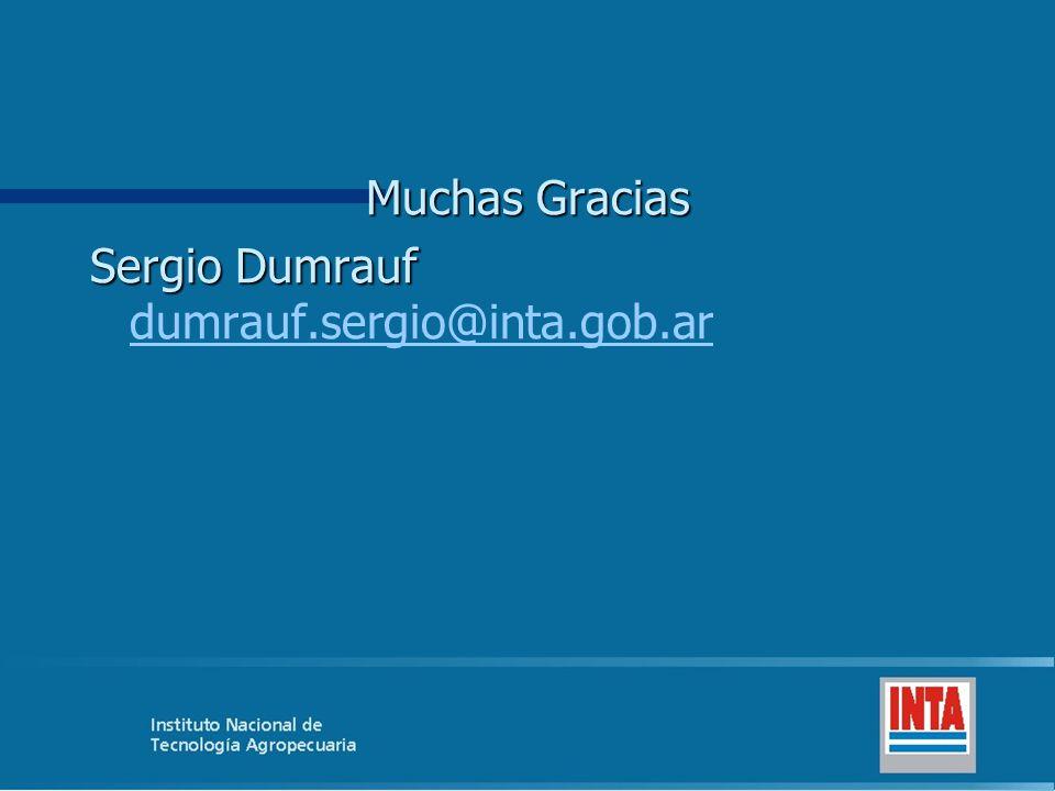 Muchas Gracias Sergio Dumrauf dumrauf.sergio@inta.gob.ar