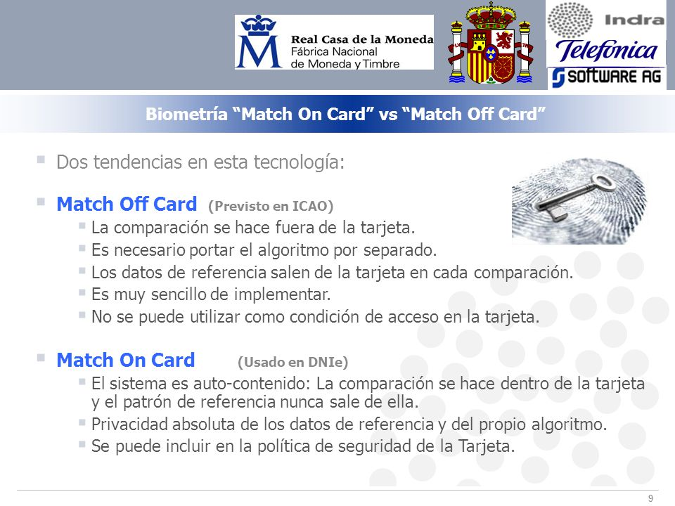Biometría Match On Card vs Match Off Card