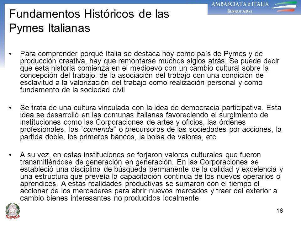 Fundamentos Históricos de las Pymes Italianas