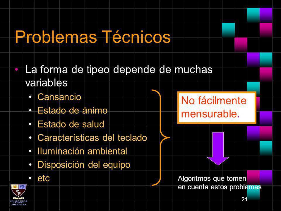 Problemas Técnicos La forma de tipeo depende de muchas variables