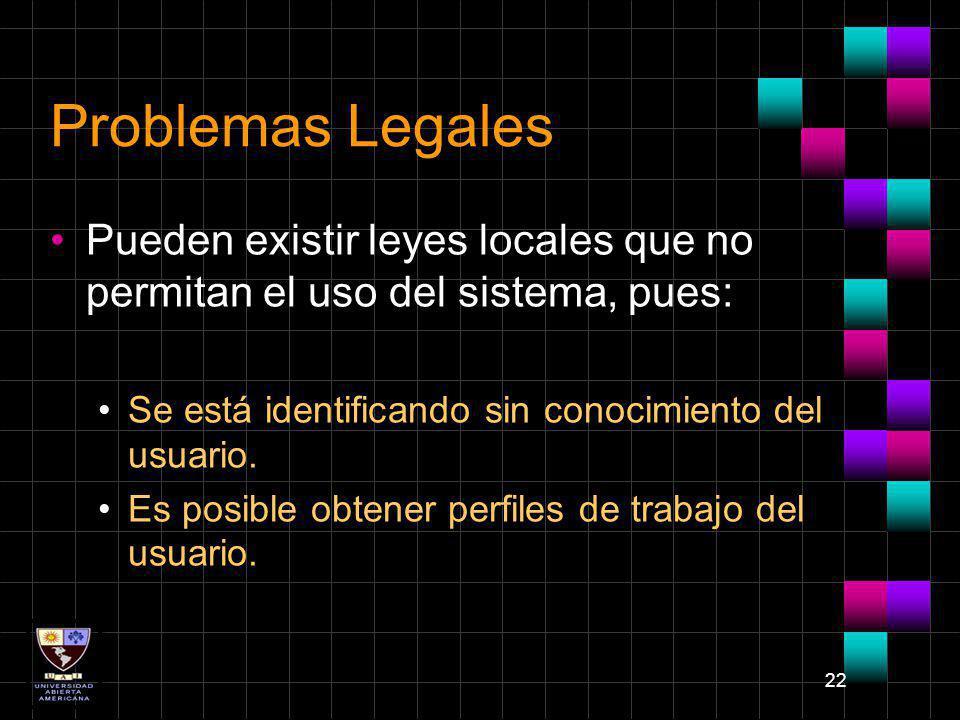 Problemas Legales Pueden existir leyes locales que no permitan el uso del sistema, pues: Se está identificando sin conocimiento del usuario.