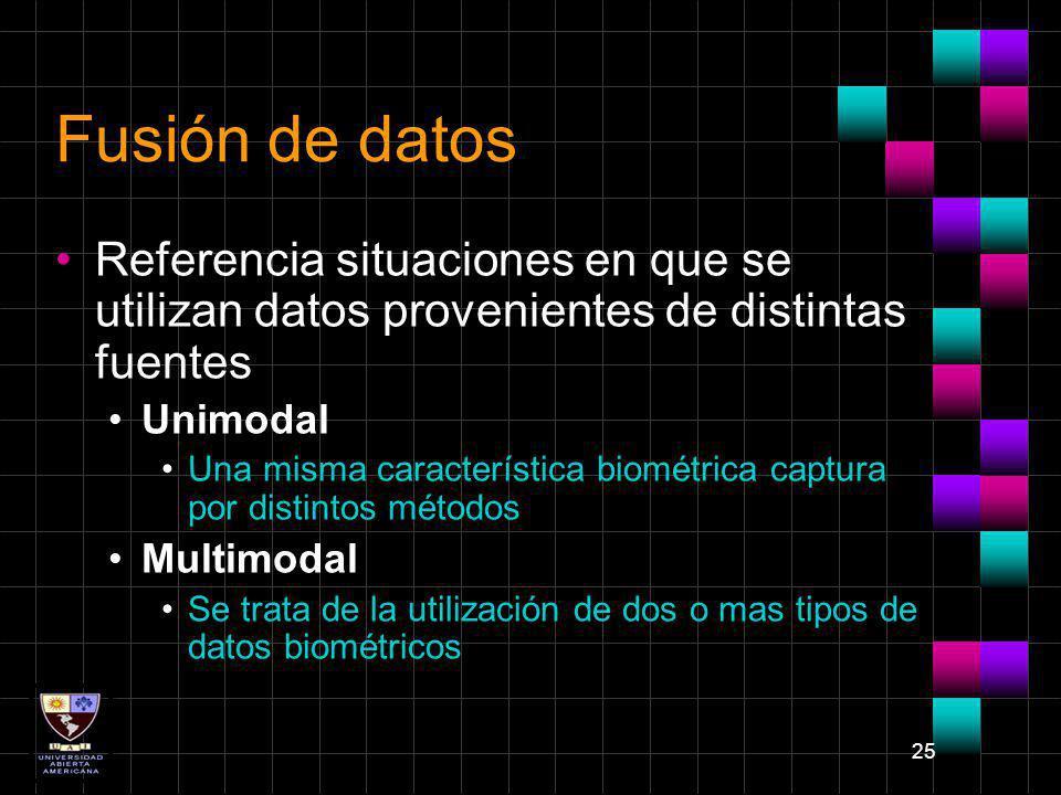 Fusión de datos Referencia situaciones en que se utilizan datos provenientes de distintas fuentes. Unimodal.