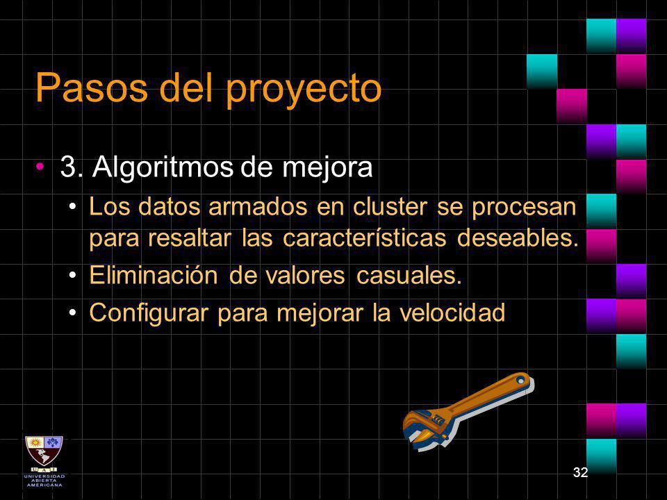 Pasos del proyecto 3. Algoritmos de mejora
