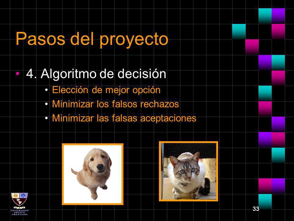 Pasos del proyecto 4. Algoritmo de decisión Elección de mejor opción
