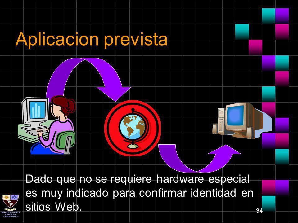 Aplicacion prevista Dado que no se requiere hardware especial