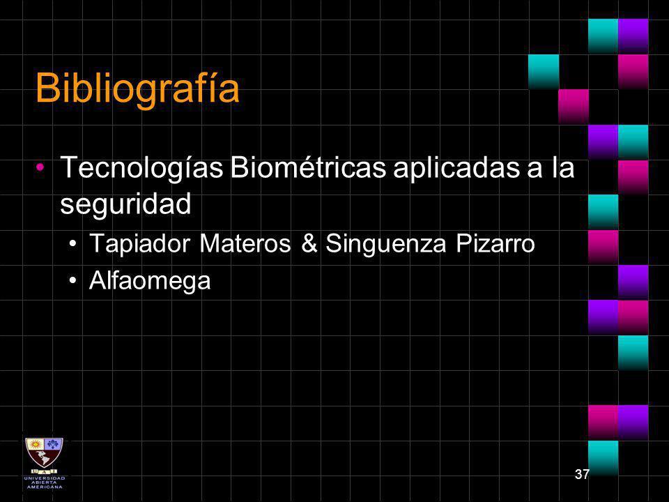 Bibliografía Tecnologías Biométricas aplicadas a la seguridad