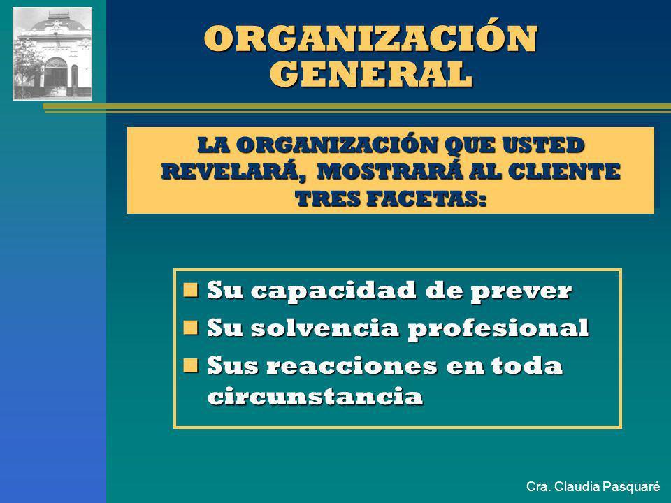 LA ORGANIZACIÓN QUE USTED REVELARÁ, MOSTRARÁ AL CLIENTE TRES FACETAS: