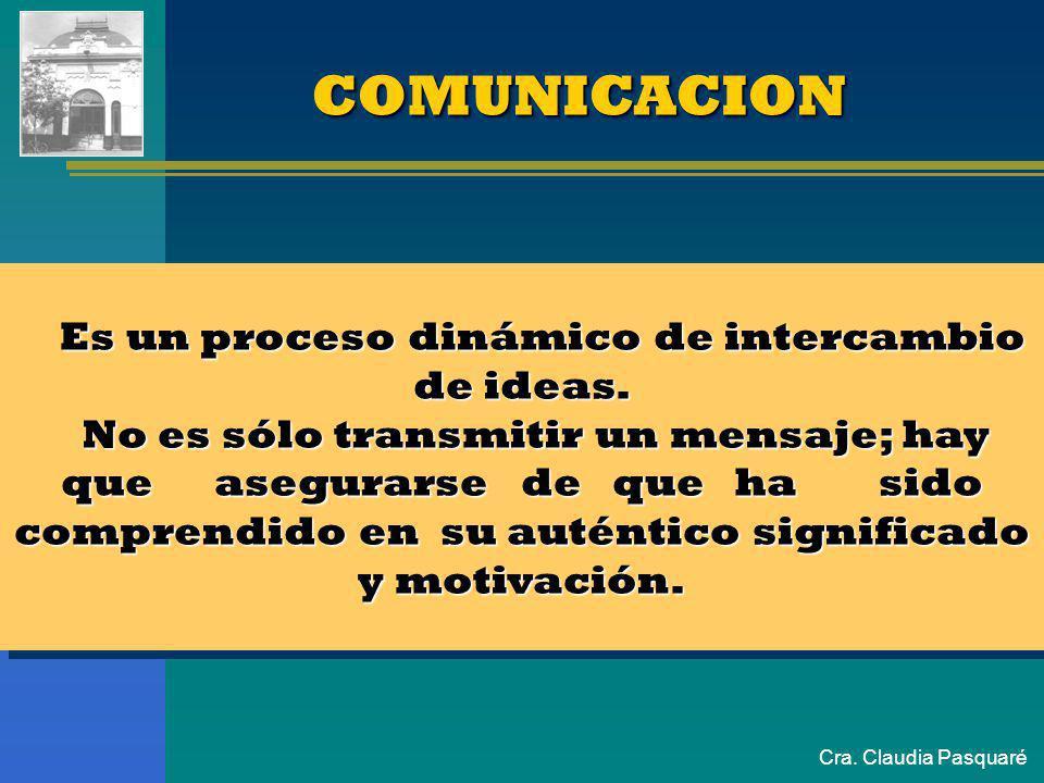 COMUNICACION Es un proceso dinámico de intercambio de ideas.