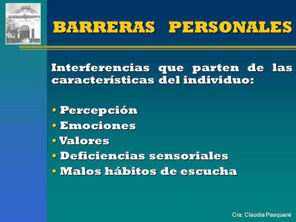 BARRERAS PERSONALES Interferencias que parten de las características del individuo: Percepción. Emociones.