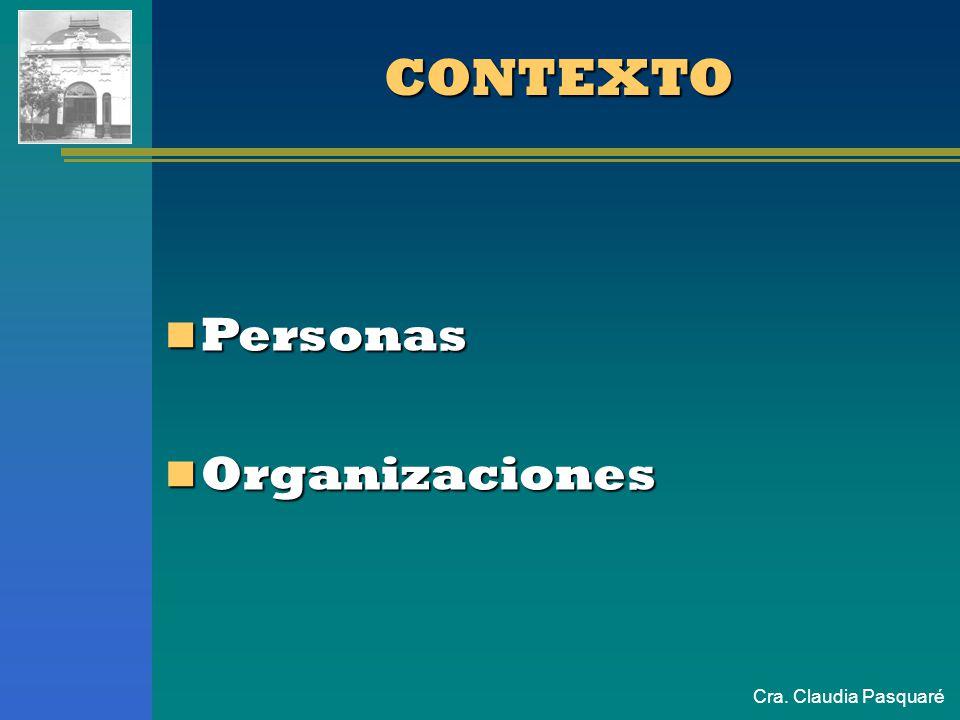 CONTEXTO Personas Organizaciones Cra. Claudia Pasquaré