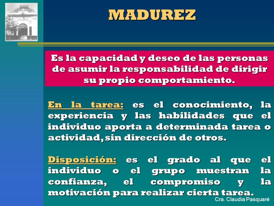 MADUREZ Es la capacidad y deseo de las personas de asumir la responsabilidad de dirigir su propio comportamiento.