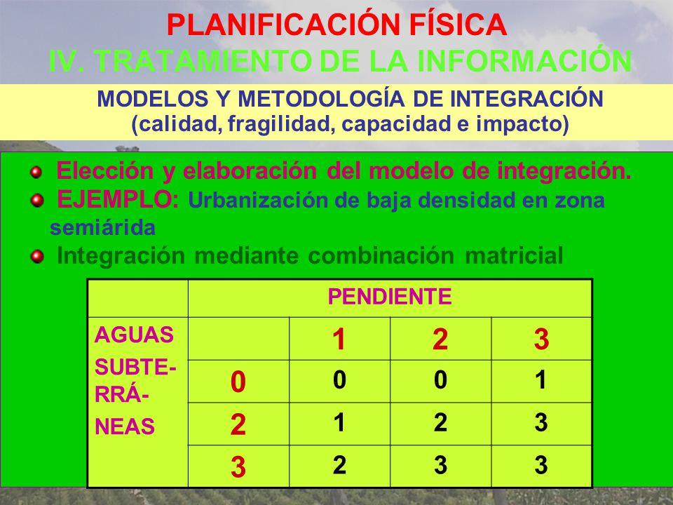 PLANIFICACIÓN FÍSICA IV. TRATAMIENTO DE LA INFORMACIÓN