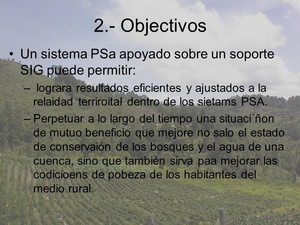2.- Objectivos Un sistema PSa apoyado sobre un soporte SIG puede permitir: