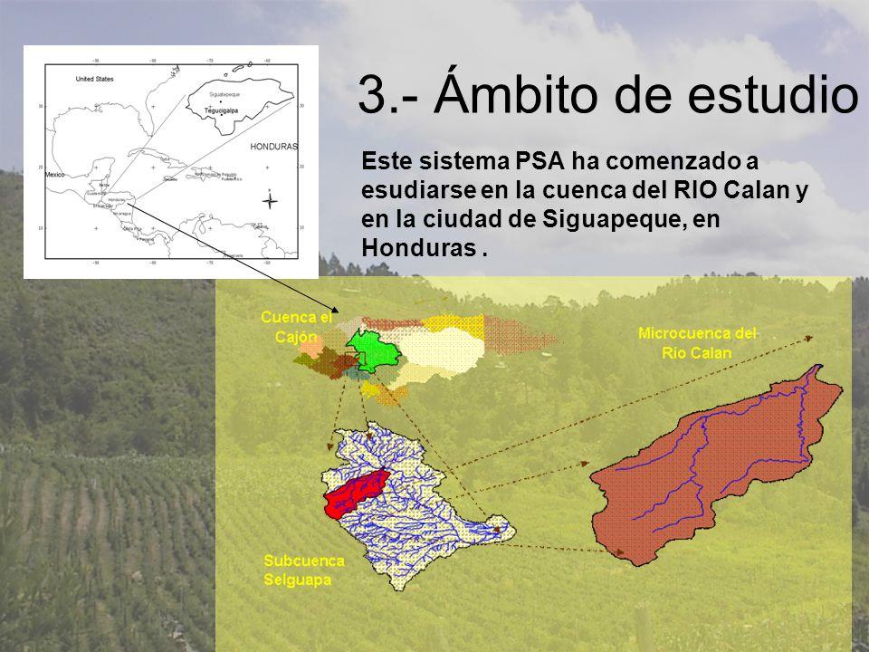 3.- Ámbito de estudio Este sistema PSA ha comenzado a esudiarse en la cuenca del RIO Calan y en la ciudad de Siguapeque, en Honduras .
