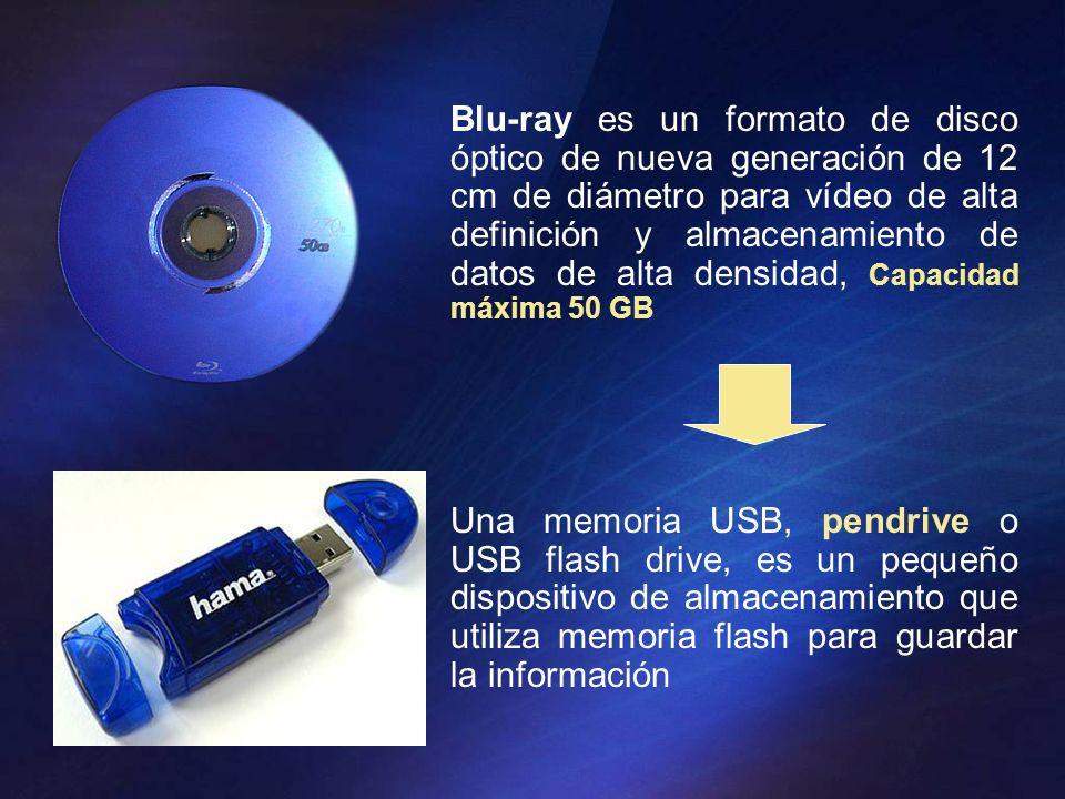 Blu-ray es un formato de disco óptico de nueva generación de 12 cm de diámetro para vídeo de alta definición y almacenamiento de datos de alta densidad, Capacidad máxima 50 GB