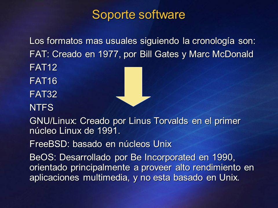 Soporte software Los formatos mas usuales siguiendo la cronología son: