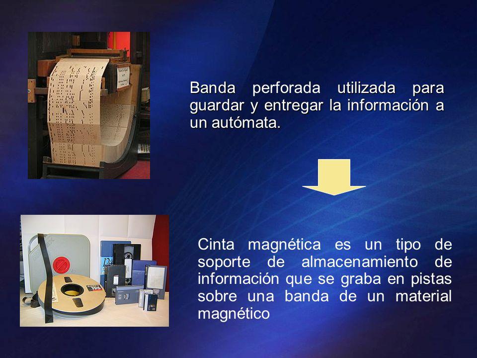 Banda perforada utilizada para guardar y entregar la información a un autómata.