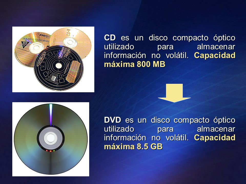 CD es un disco compacto óptico utilizado para almacenar información no volátil. Capacidad máxima 800 MB